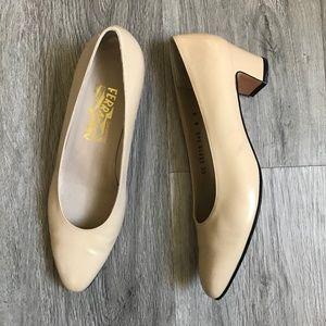 Salvatore Ferragamo Vintage Leather Heels in Nude